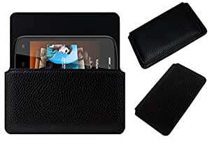 Acm Horizontal Leather Case For Zen Ultrafone 102 Mobile Cover Carry Pouch Holder Black