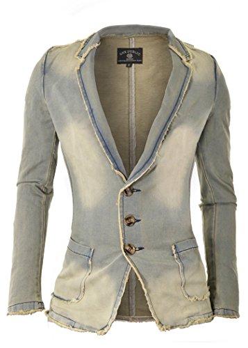 D&R Fashion da uomo denim giacca sportiva con bordi sfrangiati e marmo Wash sguardo