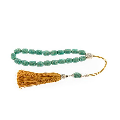 Amazonite Gemstone Handmade Worry Beads (Komboloi) Sterling Silver 925 - Free Shipping Worldwide front-252670
