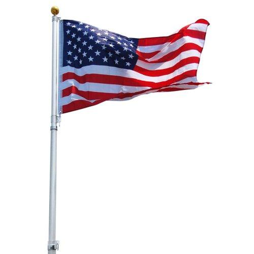 25 Ft Aluminum Telescoping Flag Pole Kit With Us Flag