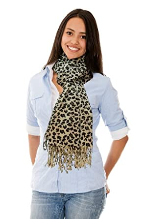 Pashmina Black and White Leopard Print Fringed Shoulder Wrap Scarf