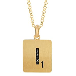 Gold Plated Sterling Silver .02 CTW Black Diamond Letter