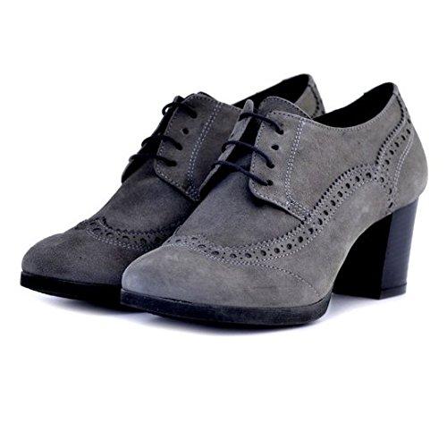 Francesine Soldini donna 19659GRIGIO numero 36 in camoscio grigio gray suede tacco robusto woman shoes