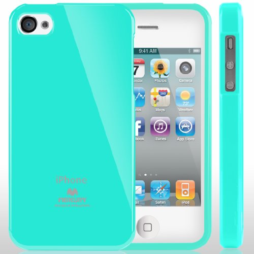SQ1 [Mercury] Slim Fit Flexible TPU Case for Apple iPhone 4 (Turquoise Mint)