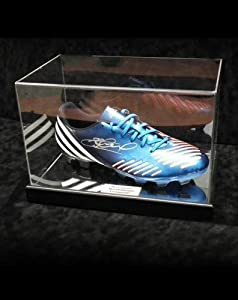 Steven Gerrard Signed Adidas TRX Blue Football Boot in Acrylic Case Liverpool -...