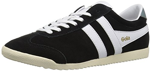 Gola Women's Bullet Suede Fashion Sneaker, Black/White, 9 M US