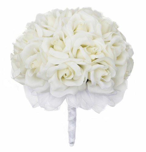 Ivory Silk Rose Hand Tie (2 Dozen Roses) - Wedding