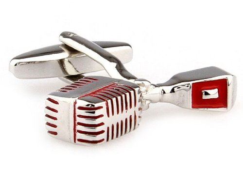 Microphone Cufflinks Silver Red Presentation Gift Box