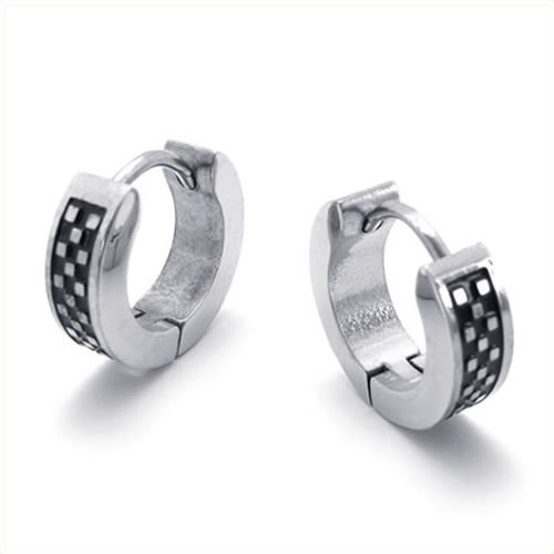 KONOV Jewelry Stainless Steel Men's Huggie Hinged Hoop Stud Earrings Set, 2pcs, Color Black Silver