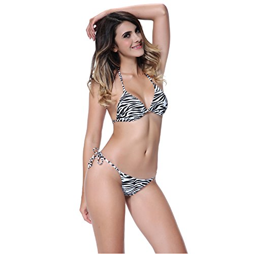 I-Glam® Sexy Zebra Stripe Triangle Top with Tiny Thong Bottom Brazilian Bikini Swimwear L