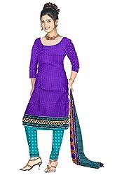 Shopeezo Purple Colored Poly Cotton Printed Dress Material