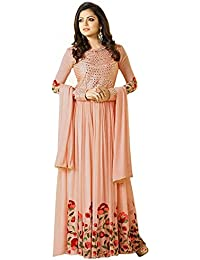 AnK Offer Special Women's Orange Georgette Embroidered Semi-Stitched Salwar Suit With Dupatta