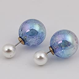 18k Gold Plated Colorful Jewelry Cool Reversible Double Sided Round Pearl Balls Stud Earring for Women (F774)