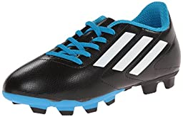 adidas Performance Conquisto Firm-Ground J Soccer Cleat ,Black/White/Solar Blue,3 M US Little Kid