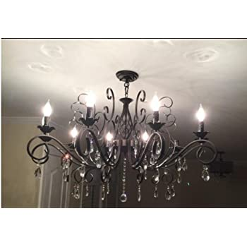 CLAXY Ecopower Vintage Wrought Iron 10-lights Chandelier with Crystal Dangle