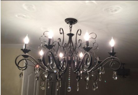 CLAXY Ecopower Vintage Wrought Iron 10-lights Chandelier with Crystal Dangle 1