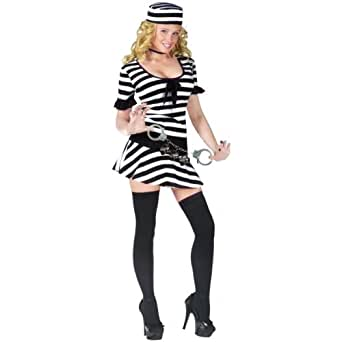 Womens Sexy Prison Inmate Halloween Costume Size S/M