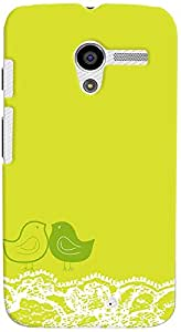 PrintVisa Pattern Cute Birds Green Case Cover for Moto X