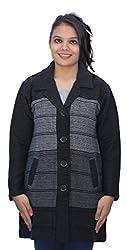 Romano Black Winter Wool Coat Sweater for Women