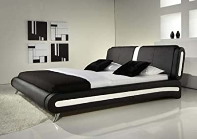 4ft6 Double Exclusive Italian Black Faux Leather Designer Bed