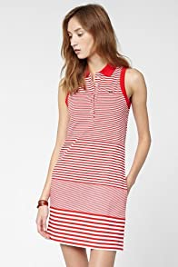 Sleeveless Stretch Pique Graded Stripe Polo Dress