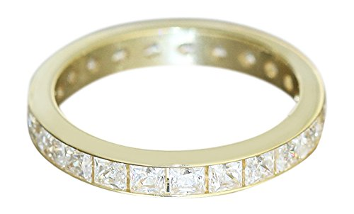 Hobra Gold Eternity Ring in 14 Karat Gold 585 mit Zirkonia Carree - Gold Ring Women's Ring