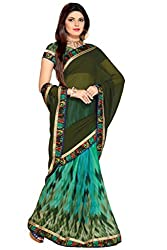 AAR VEE Green Printed Saree