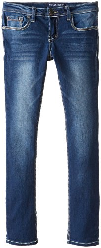 Vigoss Big Girls' Soft Skinny Jean with V Back Pocket, Blueberry Cream, 10