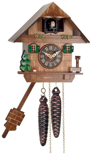 River City Clocks One Day Cuckoo Clock Cottage with Tree, Mushroom and Water Pump