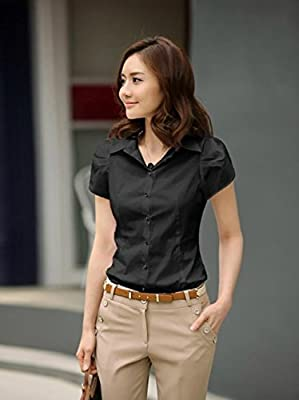 Women Summer Short Sleeve Shirt Casual T Shirts Black White Formal Work Wear Tops
