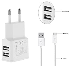 Fly Evo Tech 4 Compatible Fast Adaptive Charger / Travel Charger / Mobile Charger / Charger Dual USB Port With 1 M/ meter USB cable - (2 Ampere Genuine Output) White