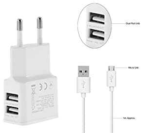 Micromax A113 Canvas Ego Compatible 2A Dual Port Charger Adapter With Auto- Detect Technology - ( 2 Ampere Genuine Output , 1 M Usb )