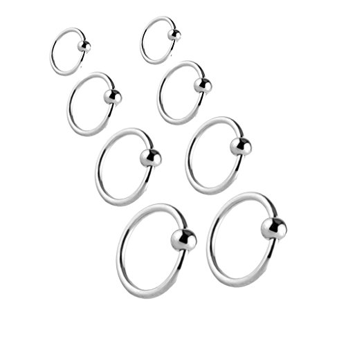 Joybeauty Unisex Stainless Steel Captive Bead Hoop Barbell CBR Rings for Ear Belly Lip Nose Ring Piercing Jewelry Mixed Sizes Pack of 8 Pcs (Steel) (Eyebrow Rings Stainless Steel compare prices)