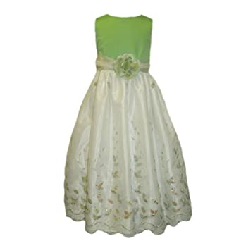 Girls 4-10 Special Occasion Holiday Party Dress with Embroidery and Sequins (Girls Size 4)