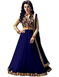 Women's Clothing Anarkali Suit Designer Party Wear Today Offers Low Price Sale Top Navy Blue Color Banglori Silk...