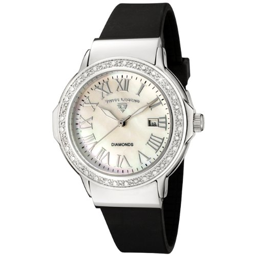 Swiss Legend Women's 20032D-02 South Beach Collection Diamond Accented Black Rubber Watch