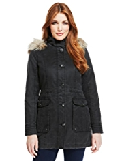 Indigo Collection Faux Fur Trim Waxy Parka