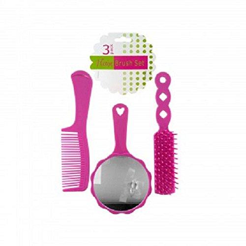 girls 3 piece pink hair brush set