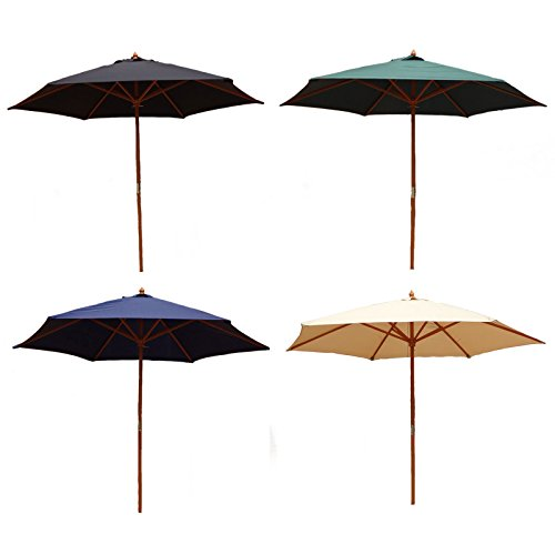 Charles Bentley Garden 2.4M Large Wooden Garden Patio Parasol Umbrella 38Mm Pole - Black