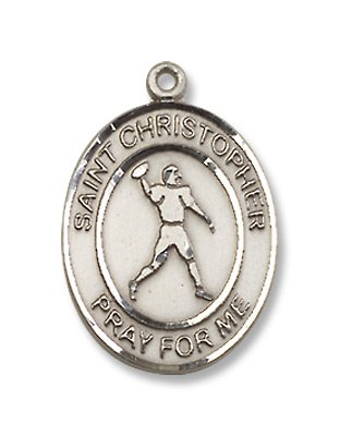 St. Christopher Sports Football Sterling Silver Medal with 18