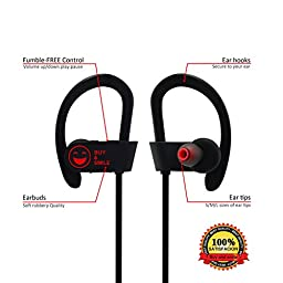 Bluetooth Headphones Wireless-Buy and Smile- Earphones Microphone.Super Sound Stereo Earbuds. Sports Headsets Running, All Activities.Easy Pairing All Smartphones .Zippered case Sweatproof IPX4