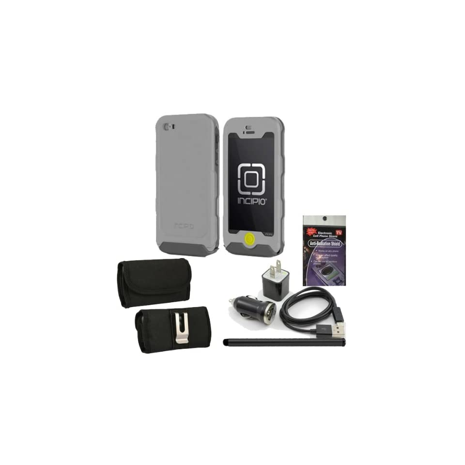 Incipio Atlas Iph 927 Gray Waterproof Heavy Duty Cover for Iphone 5. Comes with Pink USB Car Charger, House Charger, 10ft Long Cable, Stylus Pen, Metal clip case and Radiation Shield. Cell Phones & Accessories