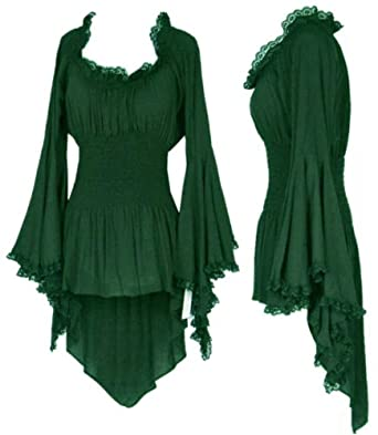 Gypsy Bohemian Peasant Top By BBW Boutique in Hunter Green - Size 6X