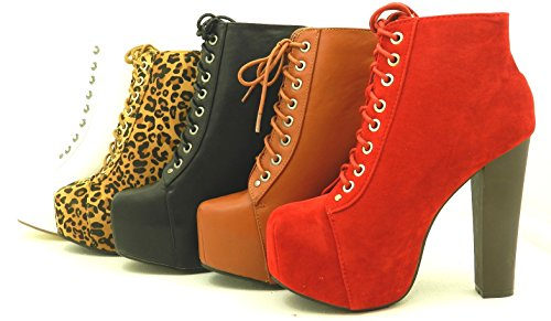 New Women's Lace up Bootie High Heel Platform Party Dressy S