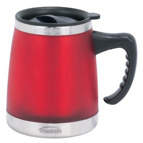 Wide Bottom 16oz Trudeau Umbria Desk Mug, Red