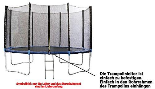 Premium Sturmhaken + Trampolinleiter für Trampolin 305 - 366 - 430 -460 cm -
