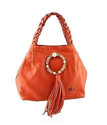 Naughty Walk Glitzy Orange Leather Handbags