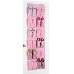 F.Dorla 24Pockets Hanging Over Door Shoe Organiser Storage Tidy Rack Space Saver Toys (Pink)