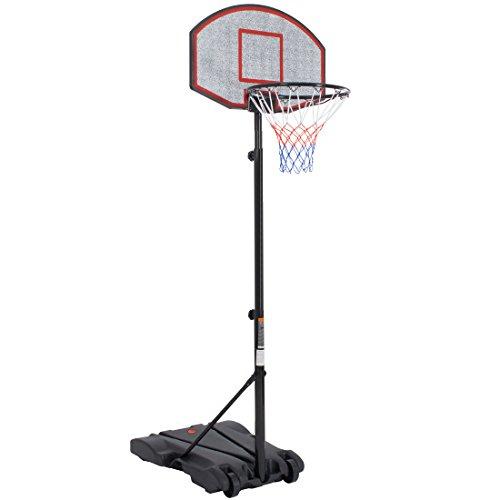 Ultrasport 331300000228 Canestro da Basket su Piedistallo, Impianto Stabile da Basket - Regolabile in Altezza da 165 - 205cm, Nero