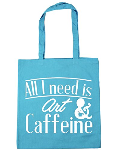 hippowarehouse-all-i-need-is-art-caffeine-tote-shopping-gym-beach-bag-42cm-x38cm-10-litres